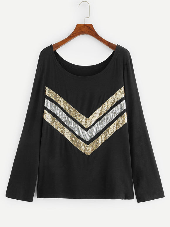 Plus Contrast Sequin Tee - Truly Yours, Fashion