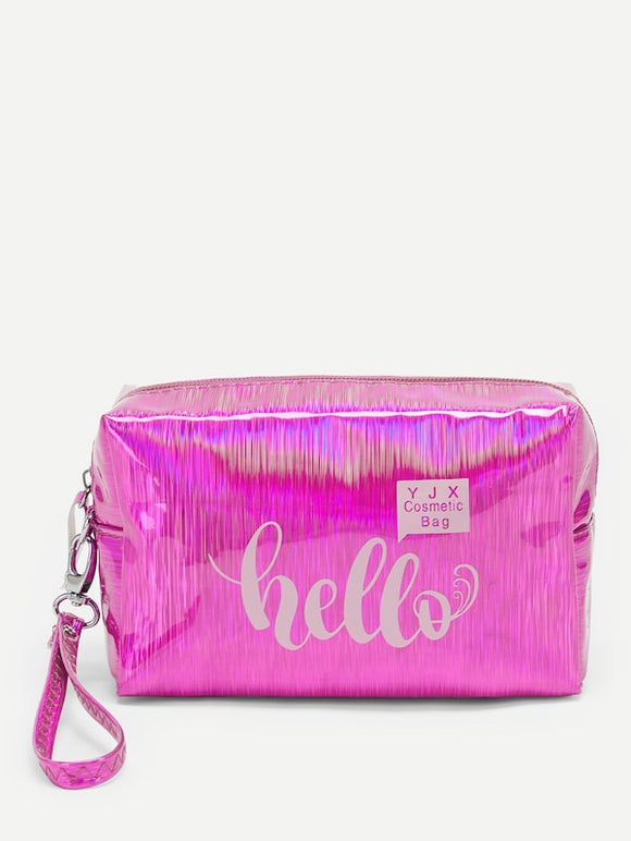 Laser Letter Print Makeup Bag - Truly Yours, Fashion