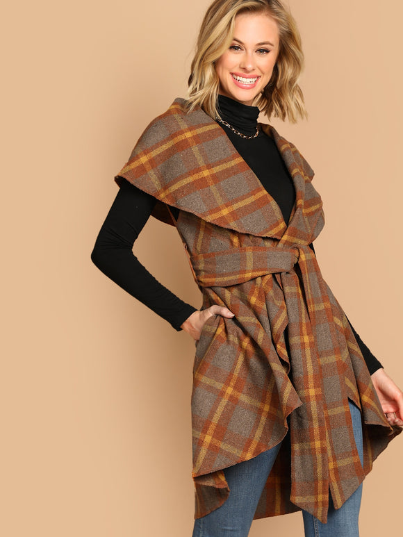 Surplice Wrap Plaid Vest