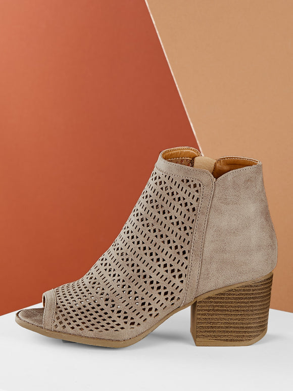 Laser Cut Out Peep Toe Chunky Heel Booties - Truly Yours, Fashion