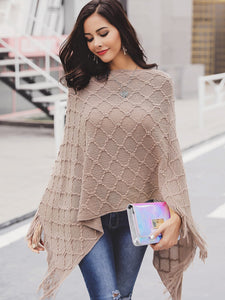 Fringe Hem Poncho Sweater - Truly Yours, Fashion