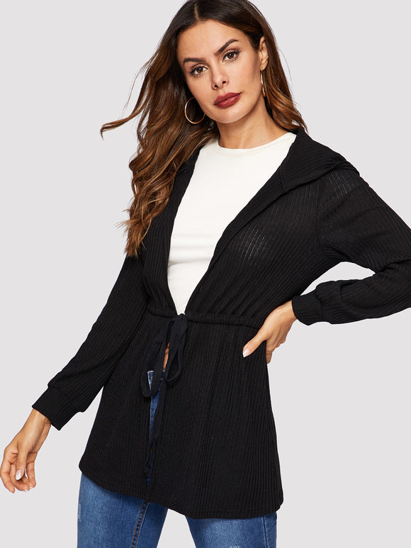 Drawstring Waist Hooded Coat - Truly Yours, Fashion