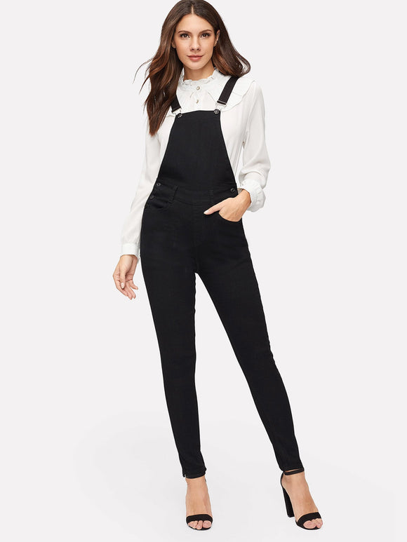 Button Side Pocket Patched Solid Jumpsuit - Truly Yours, Fashion