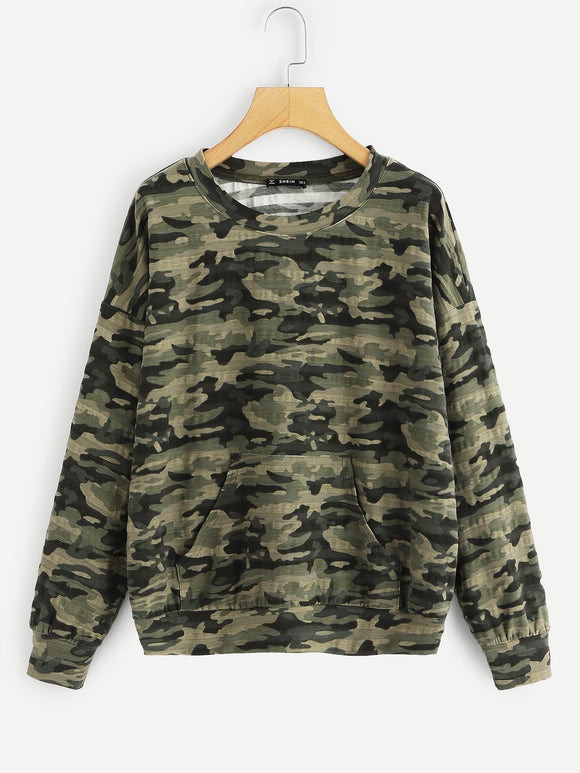 Kangaroo Pocket Front Camo Pullover - Truly Yours, Fashion
