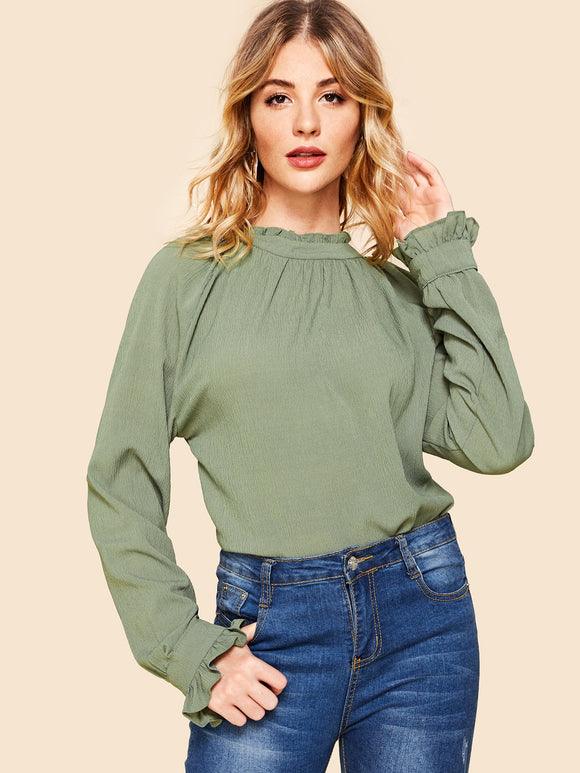 Frill Neck Bell Sleeve Solid Top - Truly Yours, Fashion