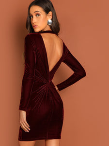 Cutout & Twist Back Velvet Bodycon Dress - Truly Yours, Fashion