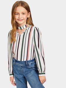 Choker Neck Striped Top - Truly Yours, Fashion