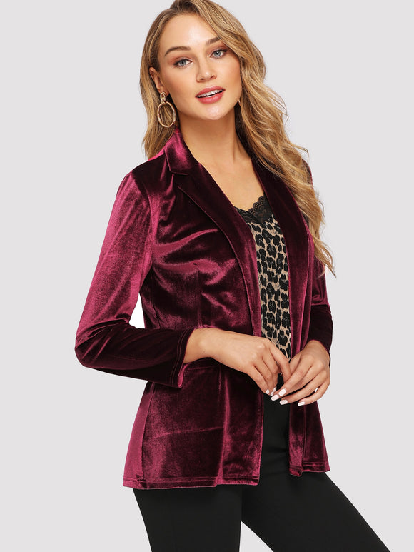 Notch Collar Pocket Front Velvet Fitted Blazer - Truly Yours, Fashion