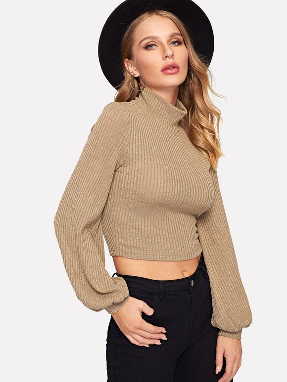 Lantern Sleeve High Neck Rib-knit Pullover - Truly Yours, Fashion