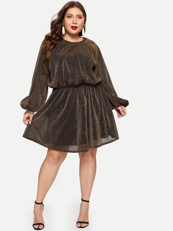 Plus Bishop Sleeve Split Back Glitter Mesh Dress