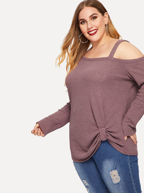 Asymmetrical Shoulder Twist Ribbed Knit Tee - Truly Yours, Fashion