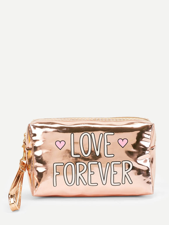 Letter Pattern PU Makeup Bag - Truly Yours, Fashion