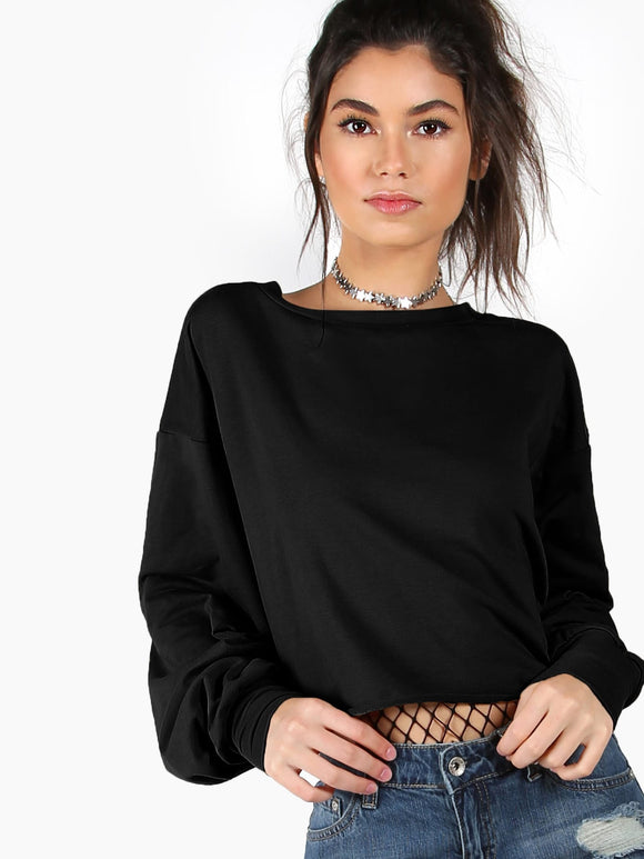 Drop Shoulder Solid Crop Pullover - Truly Yours, Fashion