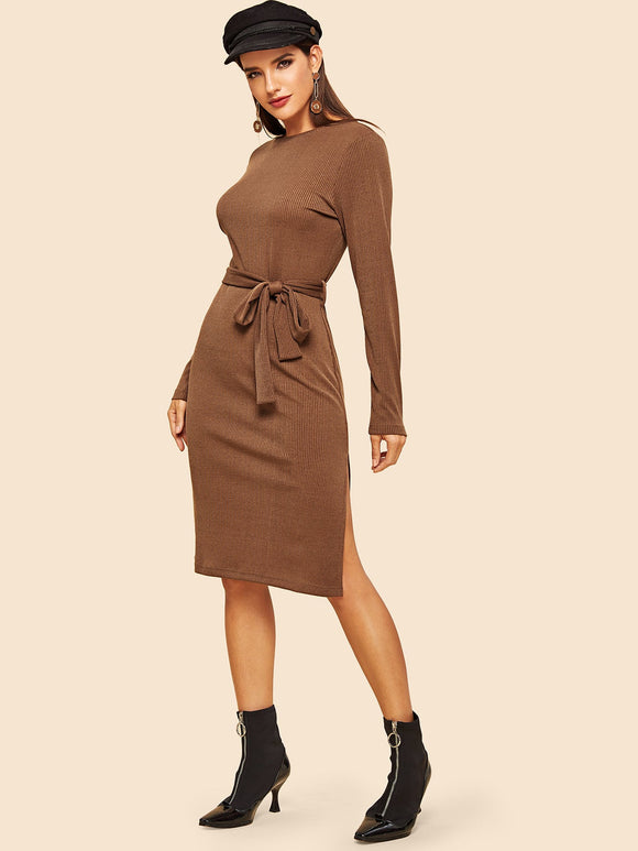 Slit Side Self Belted Rib-knit Dress - Truly Yours, Fashion