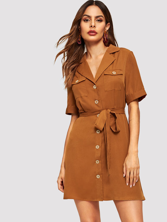 Flap Pocket Front Belted Shirt Dress - Truly Yours, Fashion