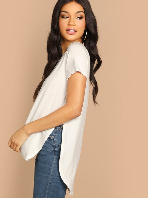 Solid Slit Curved Hem Top