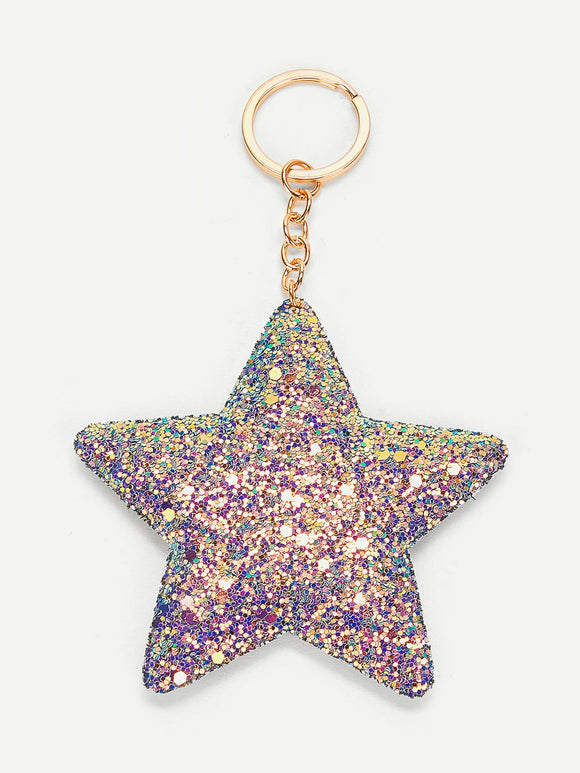 Sequin Overlay Star Pendant Keychain - Truly Yours, Fashion