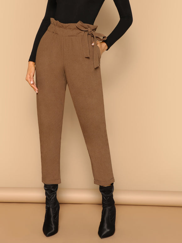 Paper Bag Waist Tie Skinny Cropped Pants - Truly Yours, Fashion