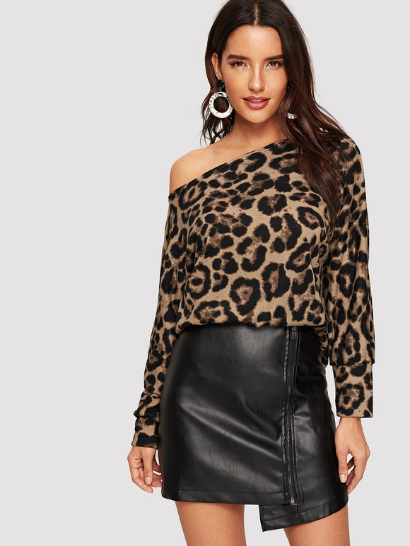 Oblique Shoulder Leopard Print Tee - Truly Yours, Fashion