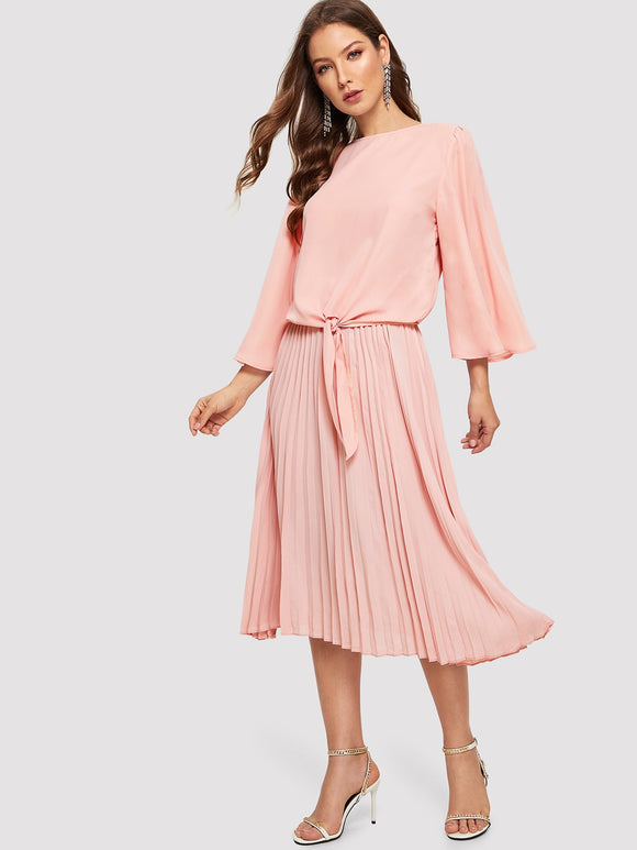 Knotted Front Bell Sleeve Top & Pleated Skirt Set - Truly Yours, Fashion