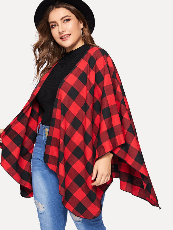 Plus Open Front Plaid Capes Coat - Truly Yours, Fashion