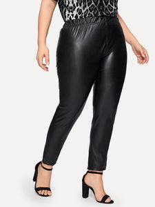 Plus Elastic Waist PU Pants - Truly Yours, Fashion