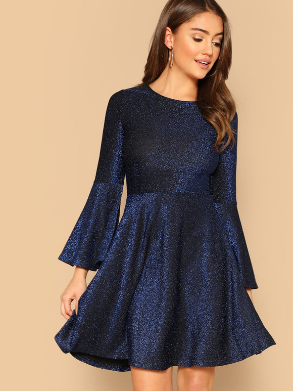 Trumpet Sleeve Fit & Flare Glitter Dress - Truly Yours, Fashion