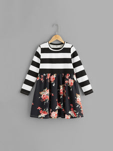 Striped & Floral Smock Dress - Truly Yours, Fashion