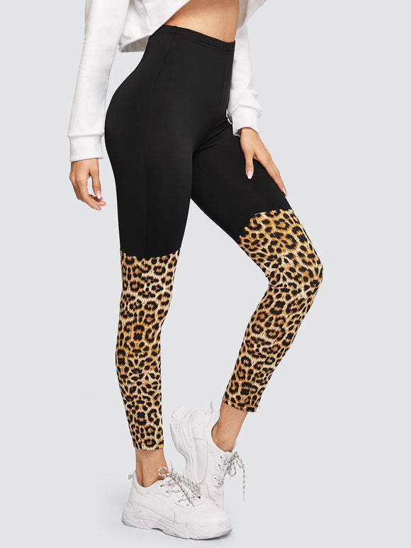 Cut-and-sew Leopard Leggings - Truly Yours, Fashion
