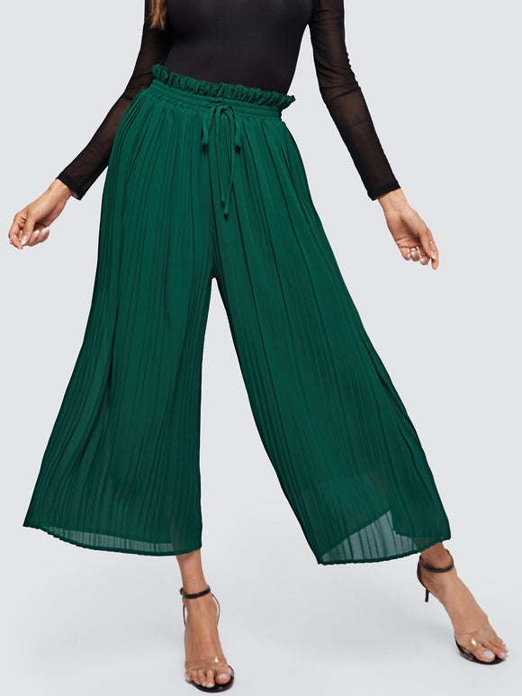 Frilled Drawstring Waist Pleated Pants - Truly Yours, Fashion
