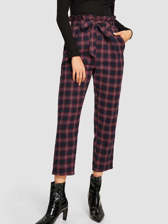 Paperbag Waist Belted Plaid Pants - Truly Yours, Fashion