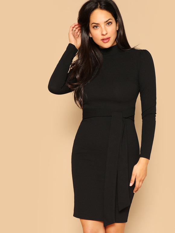 Zip Detail Backless Belted Pencil Dress