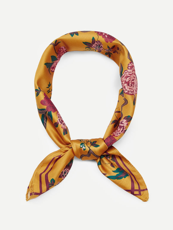 Contrast Trim Floral Bandana - Truly Yours, Fashion