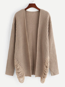 Ripped Detail Solid Cardigan - Truly Yours, Fashion