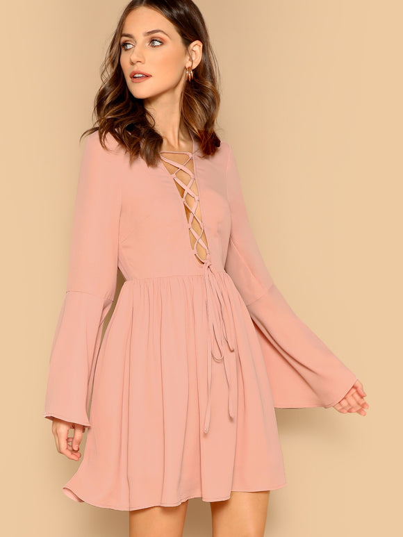 Lace-up Neck Bell Sleeve Solid Dress - Truly Yours, Fashion