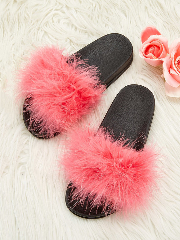 Solid Fluffy Flats Slippers - Truly Yours, Fashion