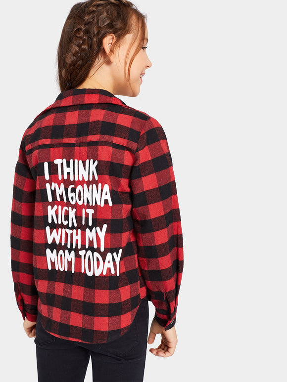 Slogan Print Back Gingham Shirt - Truly Yours, Fashion