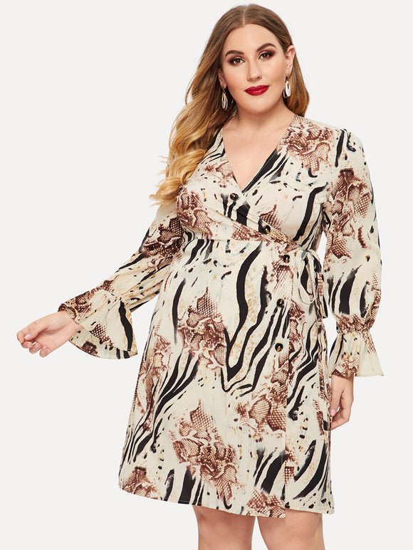 Plus Animal Print Bell Sleeve Surplice Wrap Dress