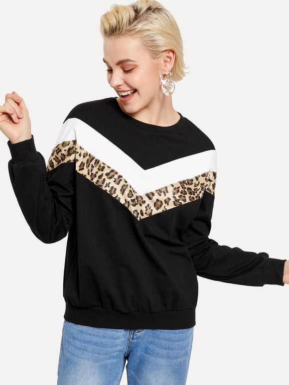 Leopard Insert Chevron Pullover - Truly Yours, Fashion