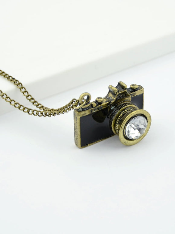 Black Camera Pendant Necklace - Truly Yours, Fashion