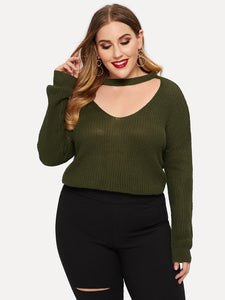 Plus Solid Choker Neck Jumper
