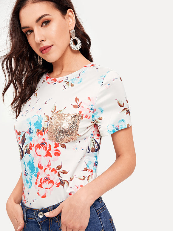 Floral Print Contrast Sequin Pocket Tee