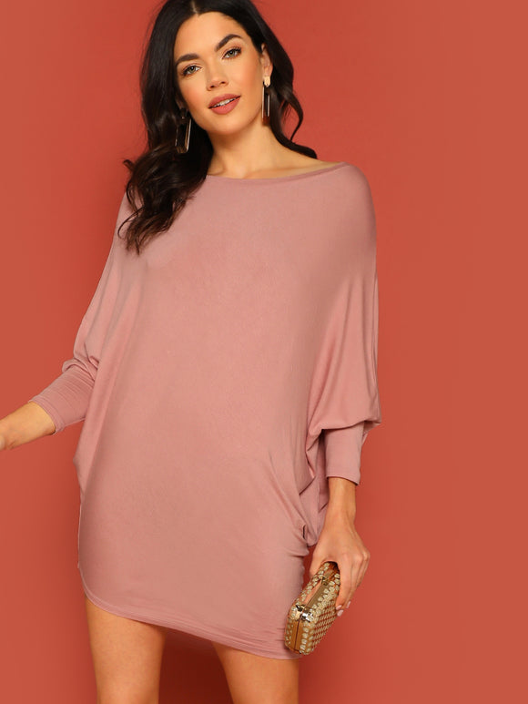 Jersey Knit Caftan Sleeve Asymmetric Mini Dress - Truly Yours, Fashion