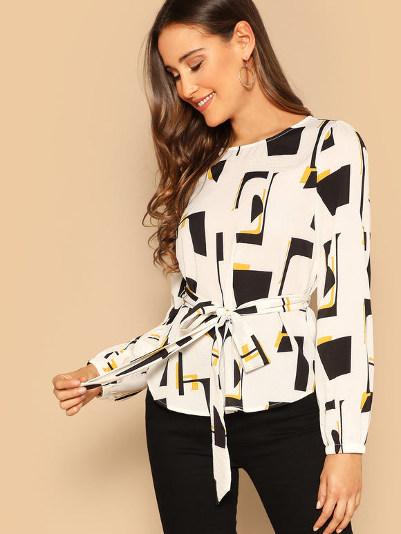 Self Belted Geo Print Top