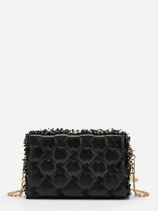 Faux Pearl Detail Quilted Box Bag - Truly Yours, Fashion