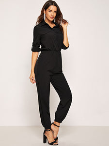 Button Front Flap Pocket Solid Shirt Jumpsuit - Truly Yours, Fashion