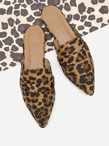 Leopard Pattern Suede Flat Mules - Truly Yours, Fashion
