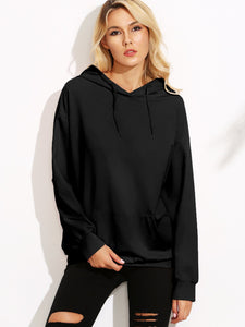 Kangaroo Pocket Patched Drawstring Hoodie - Truly Yours, Fashion