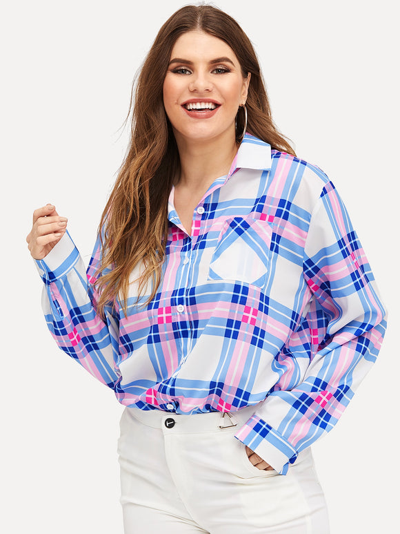 Plus Pocket Front Plaid Shirt