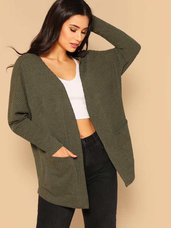 Pocket Front Drop Shoulder Rib-knit Jersey Coat